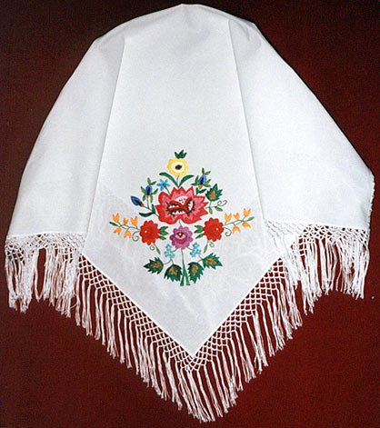 embroidered head wrap with fringes
